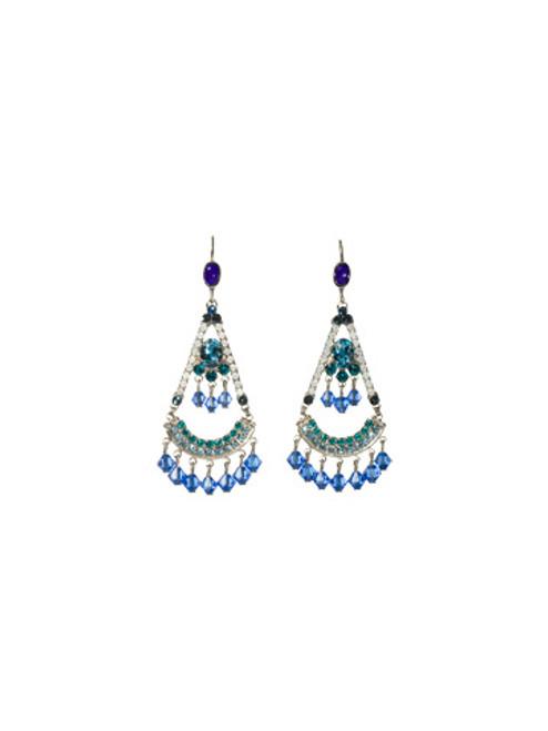 Sorrelli Electric Blue-Crystal Fringed Fan Earrings~ ECG48ASEB