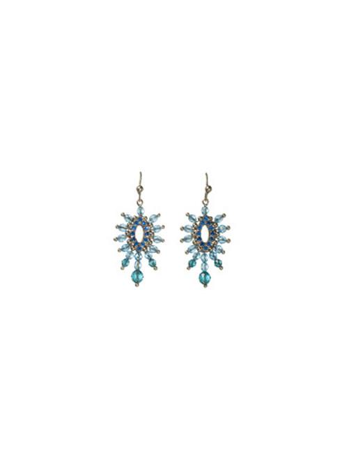 Sorrelli Electric Blue-Sunburst Crystal Earrings~ ECG55ASEB
