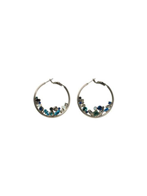 Sorrelli Electric Blue-Floating Crystal Hoop Earrings~ ECF45ASEB