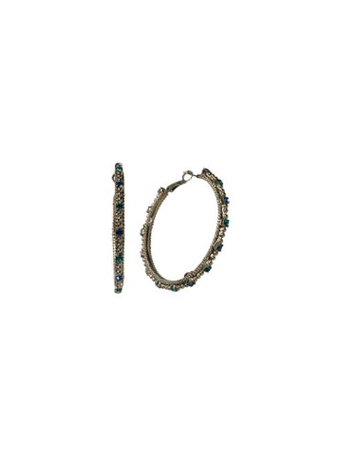 Sorrelli Electric Blue-Large Crystal Hoop Earrings~ EBZ4ASEB