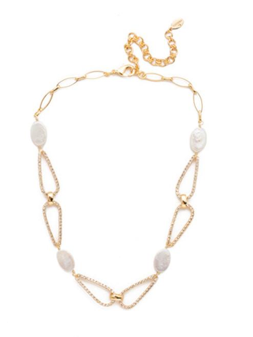 Sorrelli Modern Pearl- Arlo Tennis Necklace~ 4NES3BGMDP