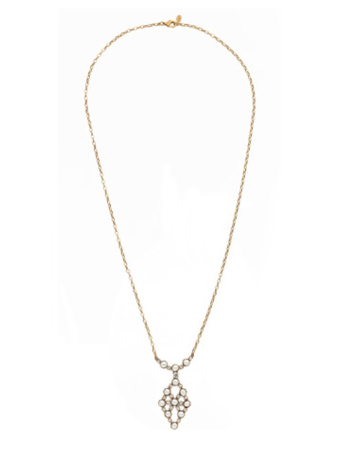 SORRELLI PRUDENCE MODERN PEARL CRYSTAL PENDANT NECKLACE~4NES1AGMDP