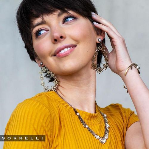 Sorrelli Modern Pearl- Citron Statement Earrings~ 4EES1AGMDP