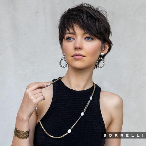 On Model- Sorrelli Modern Pearl- Cerise Statement Earrings~ 4EES70AGMDP