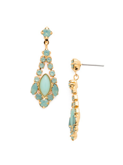 Sorrelli- Pacific Opal- Semi-Precious Navette and Crystal Rhinestone Chain Earrings~ EDA42BGPAC