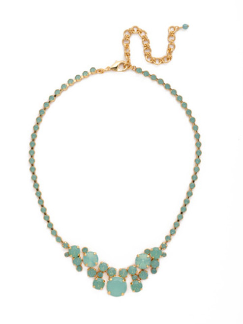 Sorrelli- Pacific Opal-Petite Round Crystal Cluster Line Necklace~ NDB15BGPAC