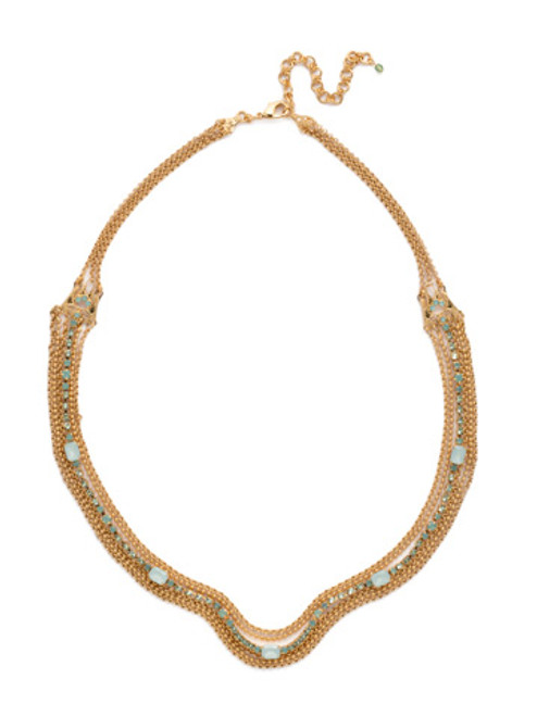Sorrelli- Pacific Opal-Elegant Multi-Strand Crystal and Chain Necklace~ NCF3BGPAC