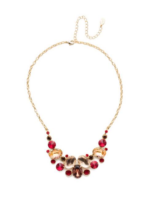 Sorrelli Warm Neutral Nested Pear Crystal Necklace~ NDJ14BGWNE