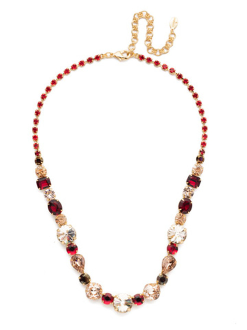 Sorrelli Warm Neutral Graduated Classic Crystal Tennis Necklace~ NCP38BGWNE