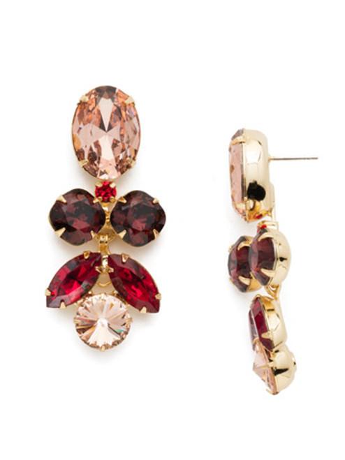 Sorrelli Warm Neutral Crystal Lotus Flower Dangle Earrings~ ECR1BGWNE