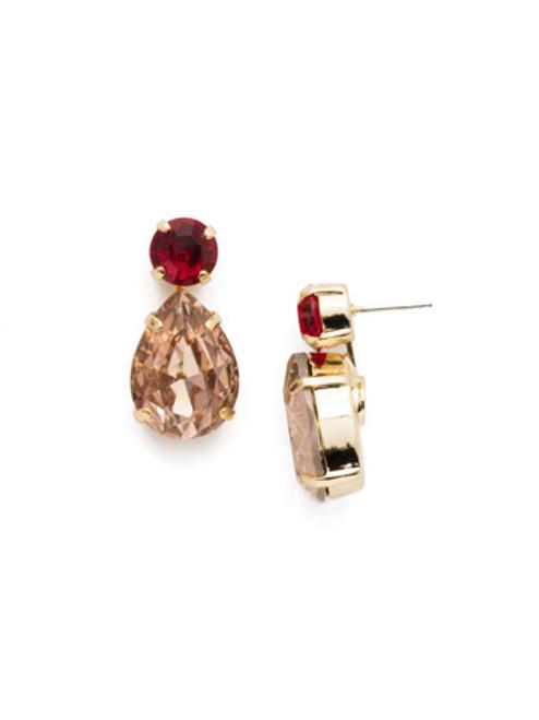 Sorrelli Warm Neutral Teardrop Onyx Crystal Dangle Earrings~ ECM9BGWNE