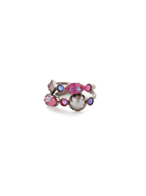 Sorrelli Electric Pink -Oaklyn Stacked Ring~ REP1ASETP