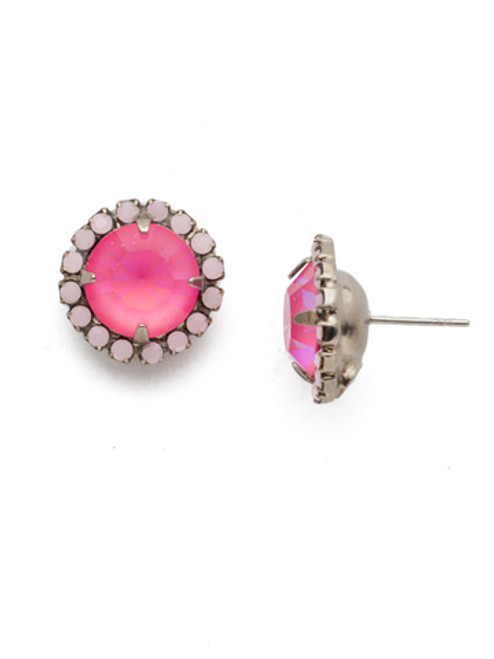 Sorrelli Electric Pink - Haute Halo Crystal Stud Earrings~ ECX98ASETP