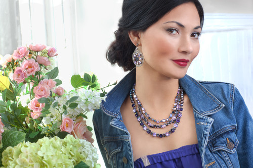 **MADE TO ORDER** Sorrelli HYDRANGEA-Sparkle Squared Necklace~ NCM10ASHY