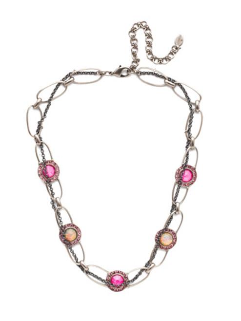 Sorrelli Electric Pink - Cheyenne Layered Tennis Necklace~ NET11MXETP