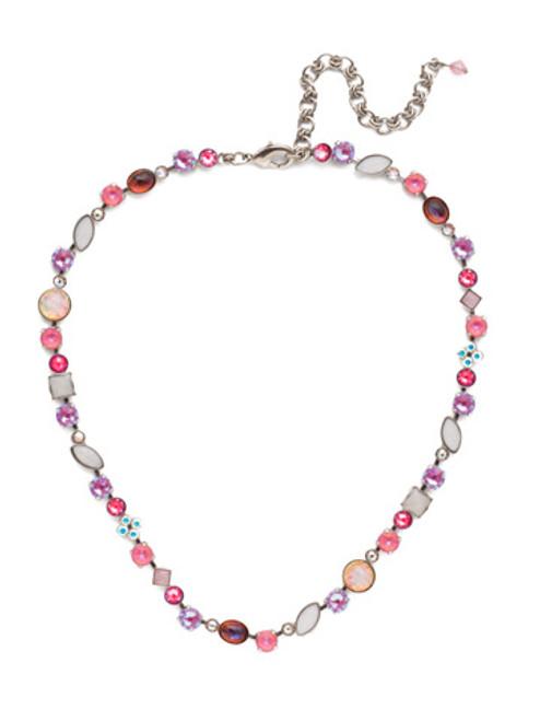 Sorrelli Electric Pink - Classic Tee Shirt Tennis Necklace~ NAQ3ASETP