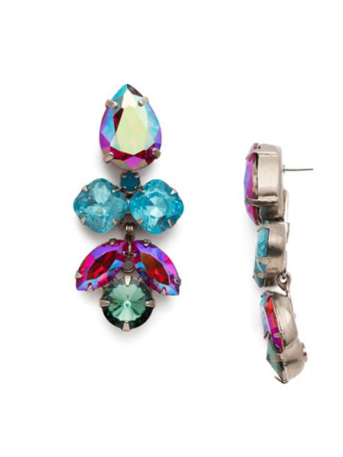Sorrelli Crystal Lotus Flower Earrings in Ruby Moroccan Turquoise~ECR1ASRTU