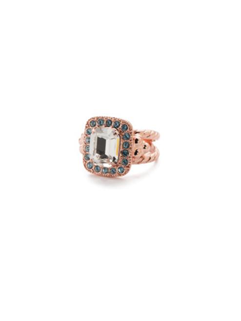 Sorrelli Crystal Azure -Opulent Octagon Cocktail Ring~ RDQ41RGCAZ