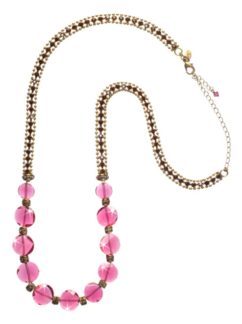 Sorrelli Pink Orchid- Luxurious Long Strand Necklace~ NCP39AGPOR