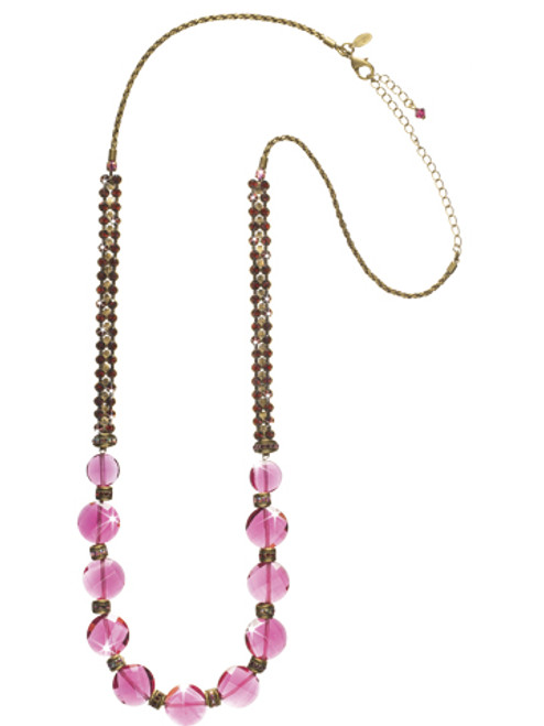 Sorrelli Pink Orchid- Bead Them Speechless Long Strand Necklace~ NCN20AGPOR