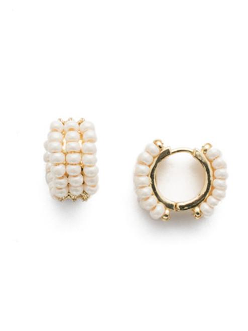 Sorrelli Modern Pearl- Xali Hoop Earrings ~ EEF78BGMDP