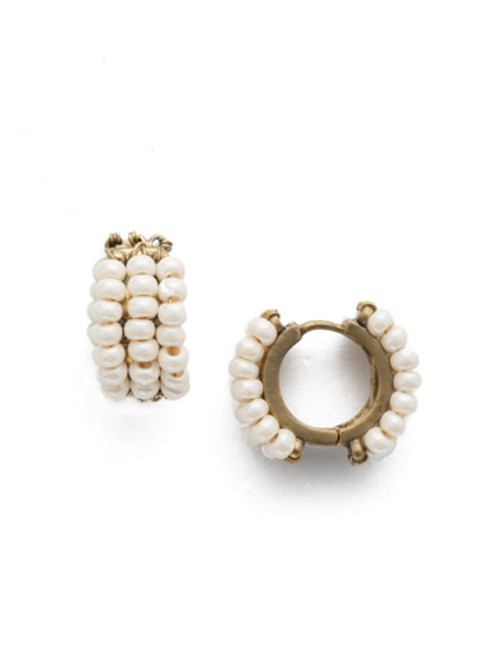 Sorrelli Modern Pearl- Xali Hoop Earrings ~ EEF78AGMDP