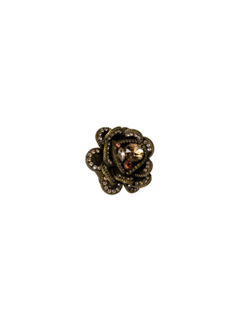 Sorrelli Andalusia- Full Bloom Crystal Flower Ring~ RCB9AGAND