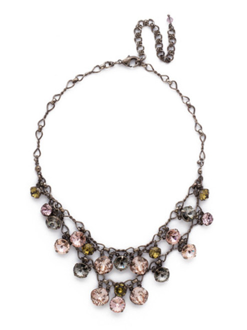 ARMY GIRL -Glittering Double Strand Crystal Bib Necklace by Sorrelli~ NCF23ASAG