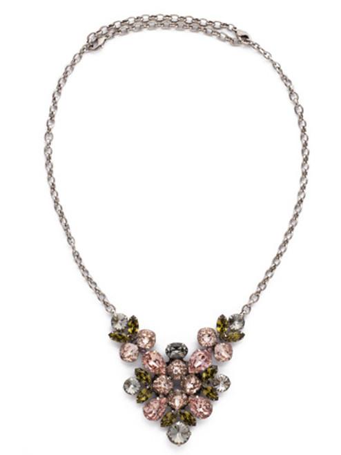 ARMY GIRL -Crystal Lotus Convertible Bib Necklace by Sorrelli~ NCR1ASAG