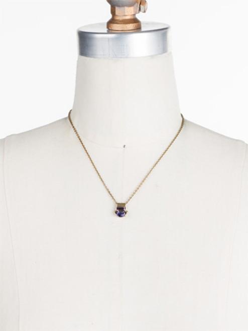Sorrelli AMETHYST- Sidney Crystal Pendant Necklace~ NDK82AGAM