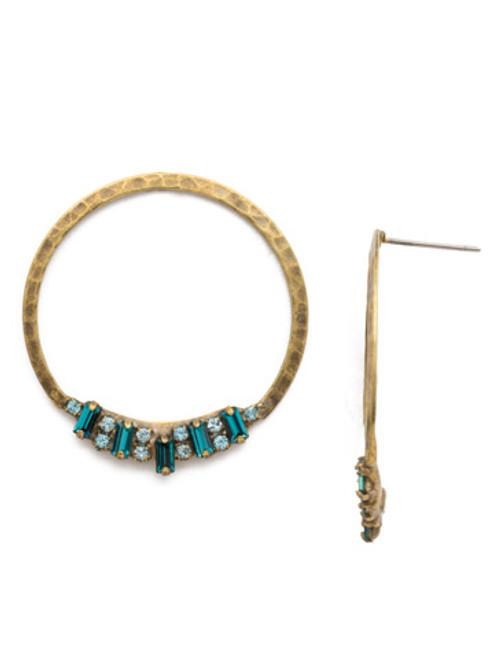 Sorrelli Essentials~ Aquamarine- Haute Hammered Earrings~ EDH25AGAQU