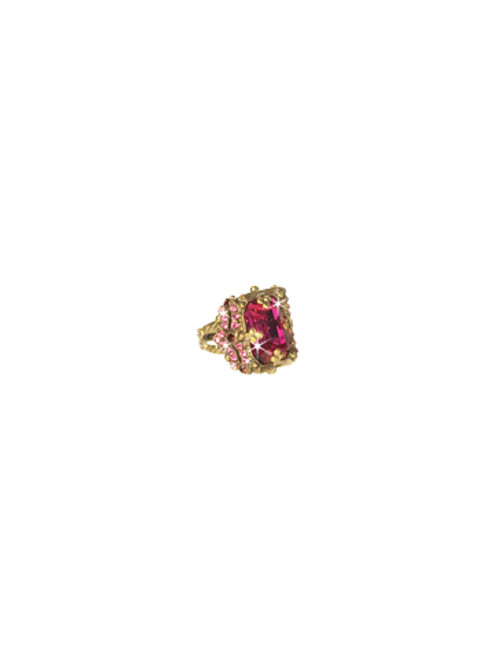 Sorrelli Pink Orchid- Snowflake Cocktail Ring~ RCK2AGPOR