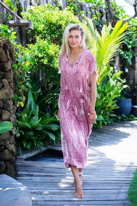 Bali Queen- Tia Tassel Long Caftan-Pink (879331)