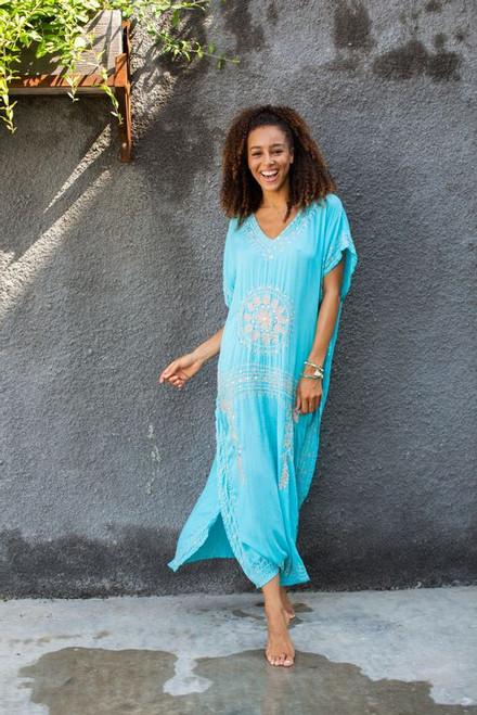 Bali Queen- Mudallion Maxi Dress-Blue/Gold (364308-blue)
