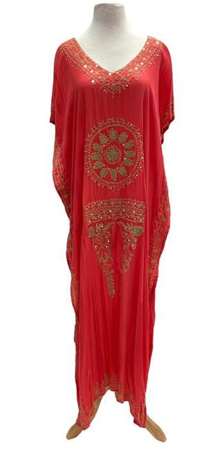 Bali Queen- Mudallion Maxi Dress-Coral/Gold (364308-coral)