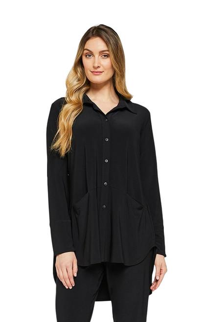 Angled Pocket Shirt by Sympli~2443-Black