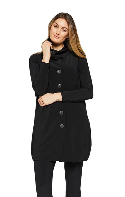 Button Up Ruched Hem Jacket by Sympli~25139-Black
