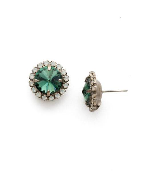 Sorrelli Game Day Green - Haute Halo Stud Earrings ~ ECX98ASGDG