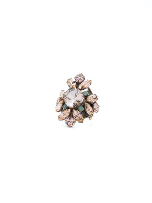 SORRELLI APRICOT AGATE- Floral Crystal Cluster Cocktail Ring ~ RCR62AGAP