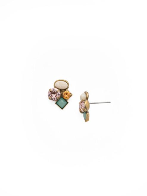 SORRELLI APRICOT AGATE- Small Cluster Stud Earrings~ EAT32AGAP