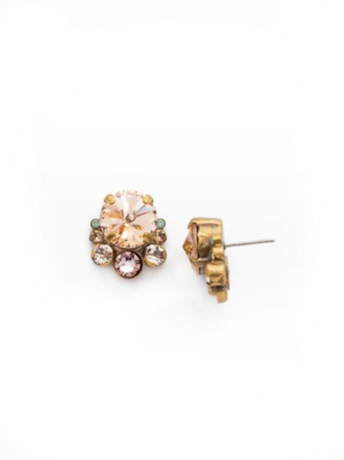SORRELLI APRICOT AGATE- Multi Cut Round Crystal Cluster Stud Earrings~ ECW11AGAP