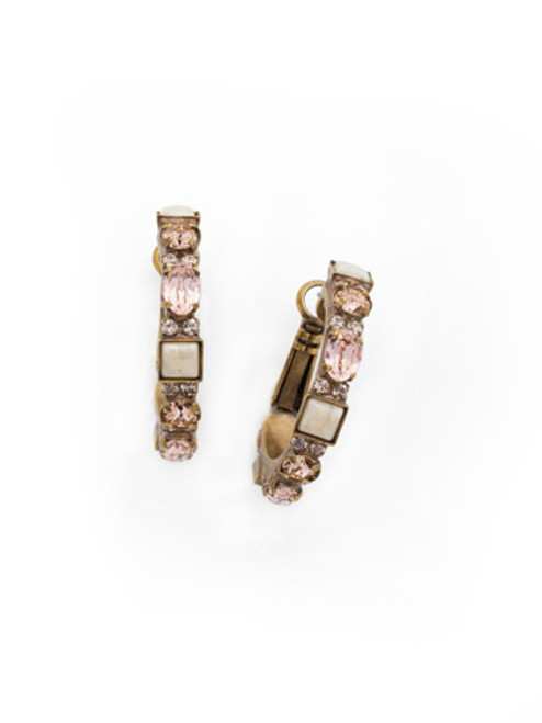 SORELLI APRICOT AGATE- One Of A Kind Crystal and Stone Hoop Earrings~ EDK13AGAP