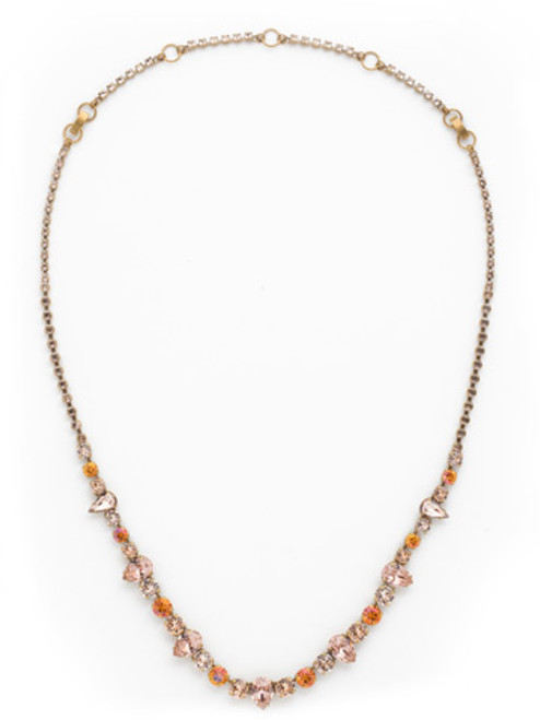 SORELLI APRICOT AGATE-Pear and Round Cut Tennis Necklace~ NCR19AGAP