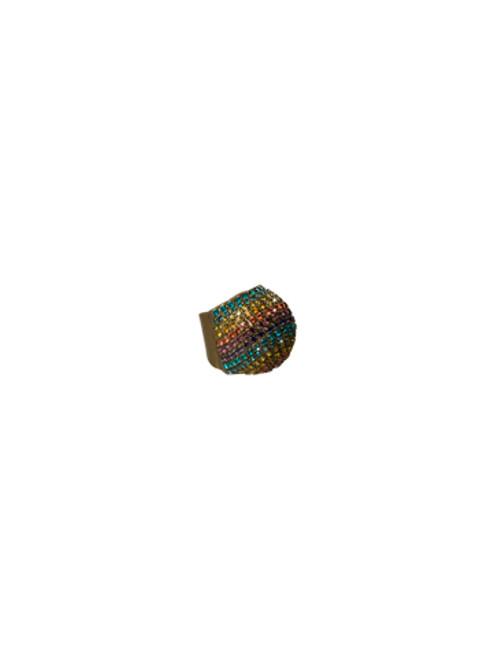 Sorrelli AZTEC- Rainbow Rhinestone Pave Dome Ring~ 4RH13AGAZT