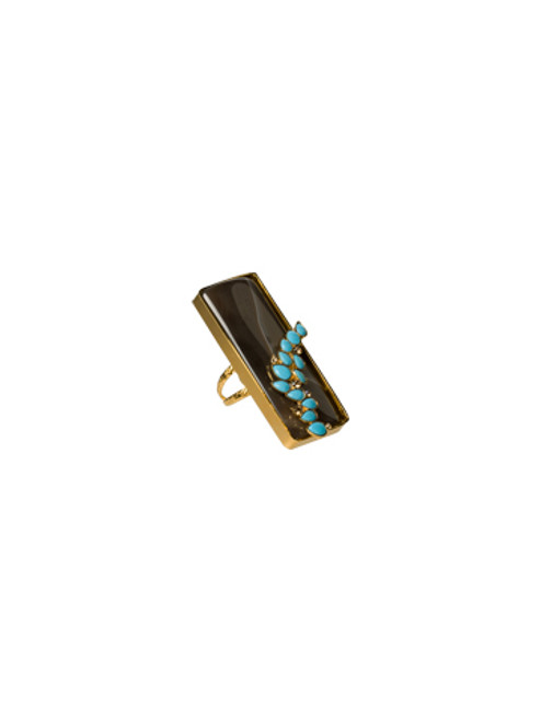 Sorrelli AZTEC- Large Rectangle Brown Agate and Turquoise Ring~ 4RH8BGAZT