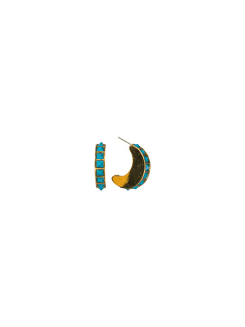 Sorrelli AZTEC- Crescent Turquoise Hoop Earrings~ 4EH2BGAZT