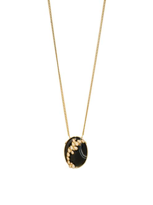 Sorrelli AZTEC- Black Agate and Riverstone Pendant Necklace~ 4NH14BGAZT