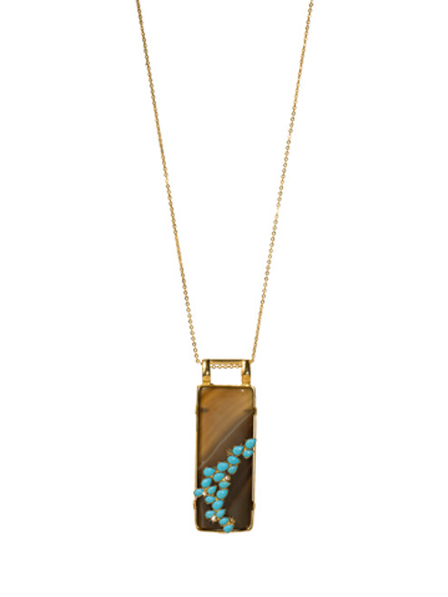 Sorrelli AZTEC- Large Rectangle Brown Agate and Turquoise Pendant Necklace~ 4NH8BGAZT