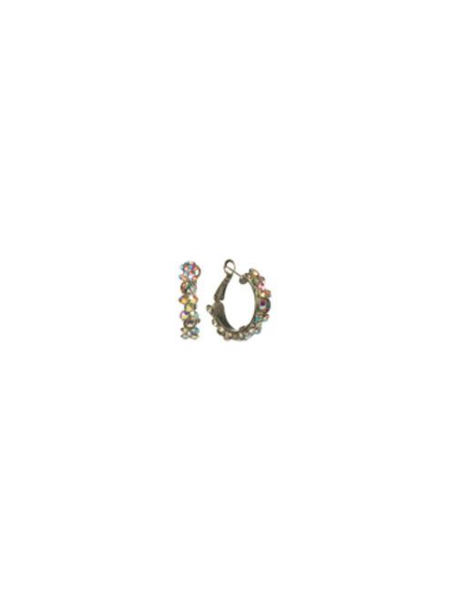 Sorrelli Crystal Aurora Borealis-Floral Hoop Hoop Earrings~ EBP15ASCAB