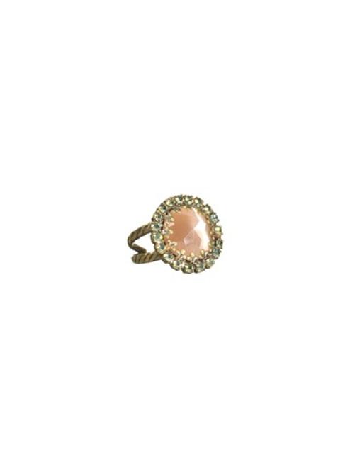 Sorrelli Aqua Bubbles- Circular Cocktail Ring with Crystal Edging~ RBT75AGAQB